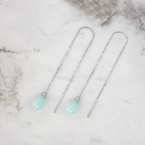 82740d082 Opal Threader Earrings, 9K, 14K, 18K Gold Earrings, White Gold Threaders,  Gold Chain Earrings, October Birthstone, Gemstone Birthstone Earrings  /code: 0.001