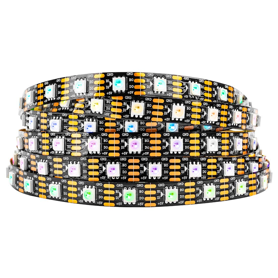 BTF-LIGHTING WS2813 (Upgraded WS2812B) 16.4ft 300 Pixels Magic Dream Farbe Individually Addressable RGB LED Flexible Strip Light 5050 SMD Dual Signal Wires IP30 Not Waterproof DC 5V schwarz PCB