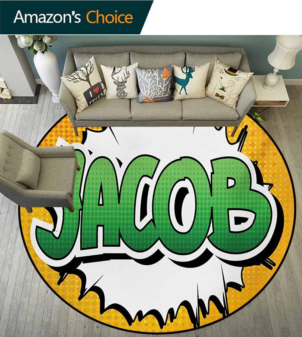 RUGSMAT Jacob Modern Machine Washable Round Bath Mat,Personal Male Name in Green Shades On Comic Explosion Burst Effect Non-Slip Soft Floor Mat Home Decor,Round-47 Inch Marigold Green and White by RUGSMAT (Image #2)