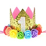 DreamLily Baby 1st Birthday Party Hat Gold Crown with Pink Hair Band BB03
