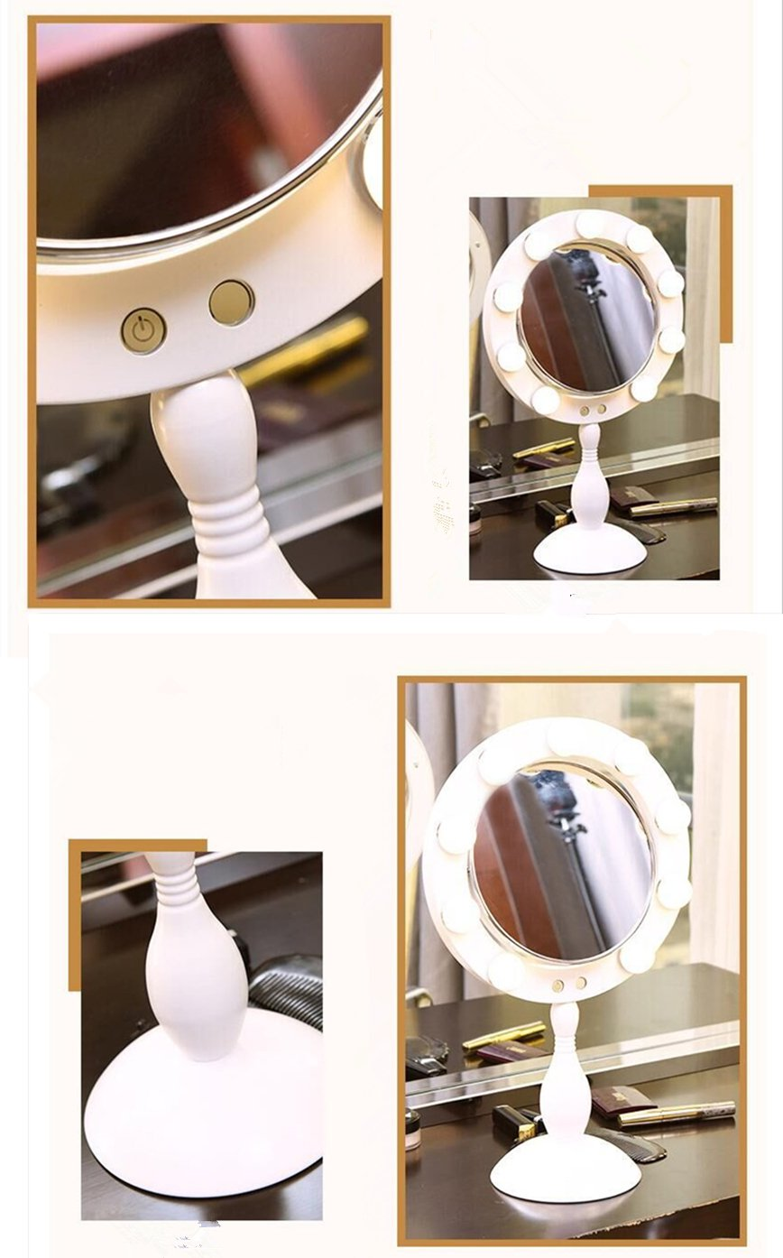 Retro Round Makeup Mirror with 9 LED Bulbs Lighted Vanity Mirror Touch Screen Adjustable Brightness Best Gift For Girls (White)
