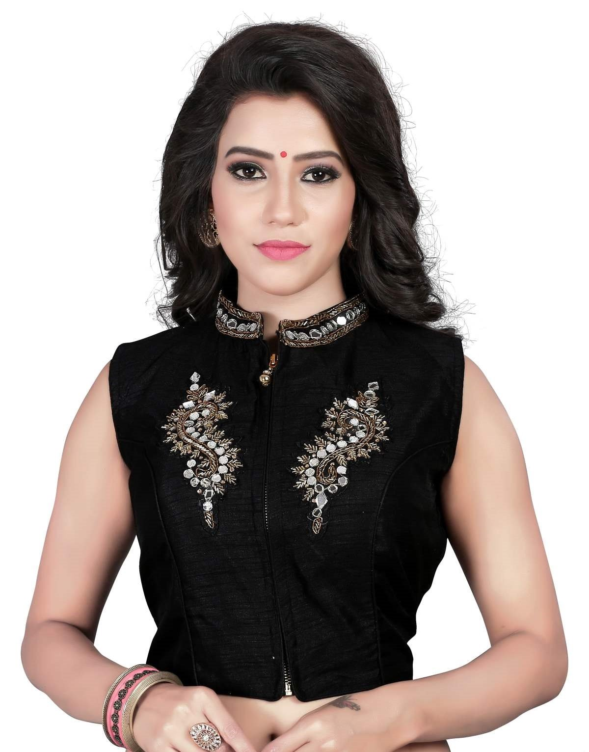 5d8eccd83b809 Kuvarba Fashion Women s Banglori Silk Stitched readymade Round Neck Zip  Style free size Saree Blouse product