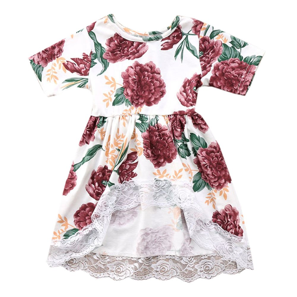 0cc6443266 ... 1Pcs toddler girls floral dress Cotton material, touch very soft and  skin-friendly, breathable fabrics, comfortable to wear in summer, good for  baby\'s ...