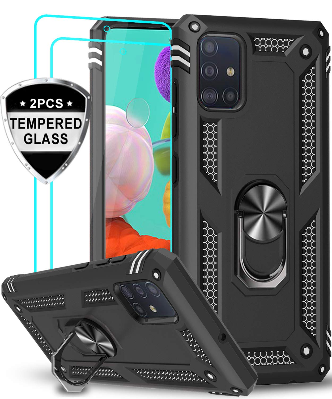 Funda Negra Con Soporte Y 2 Vidrios Templados Samsung A51
