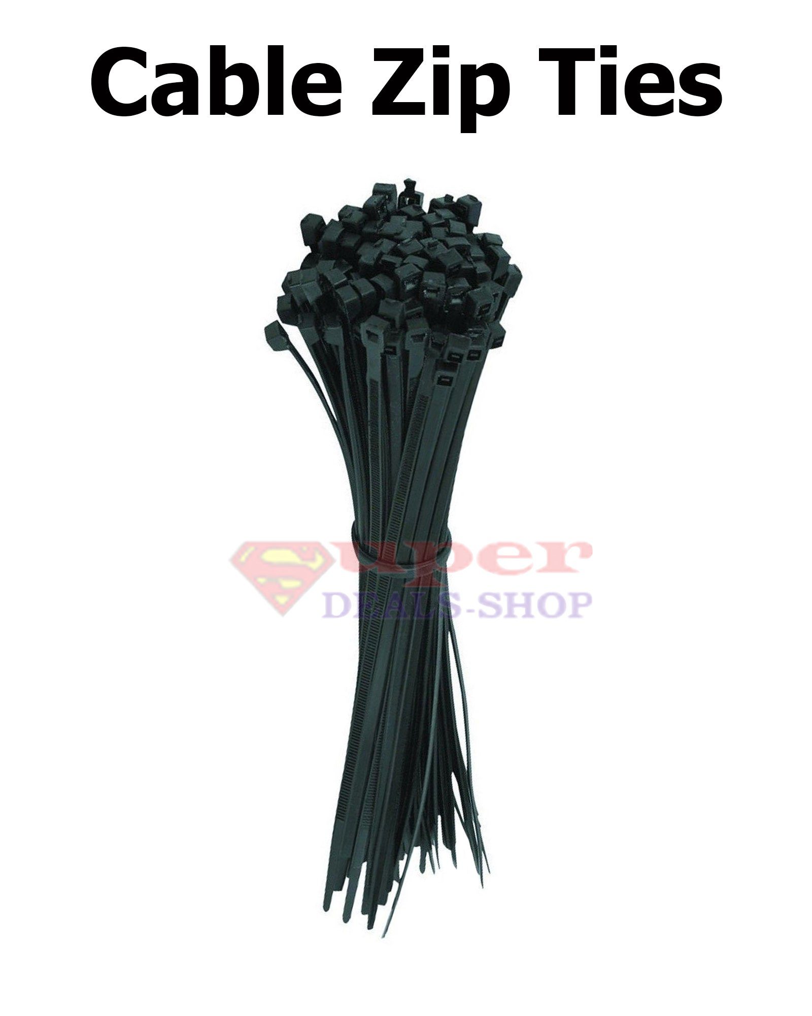 100 pcs 8 Inch Cable Zip Ties Heavy Duty Zip Ties Nylon Cable Ties Black Zip Tie Super-Deals-Shop