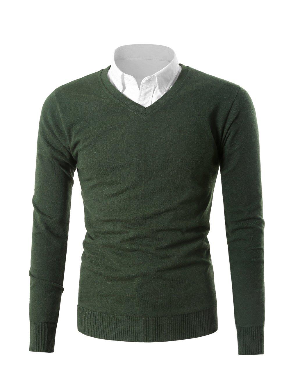 Mesahara Mens Casual Slim Fit Knit V-Neck Pullover Sweater (XL, Green)