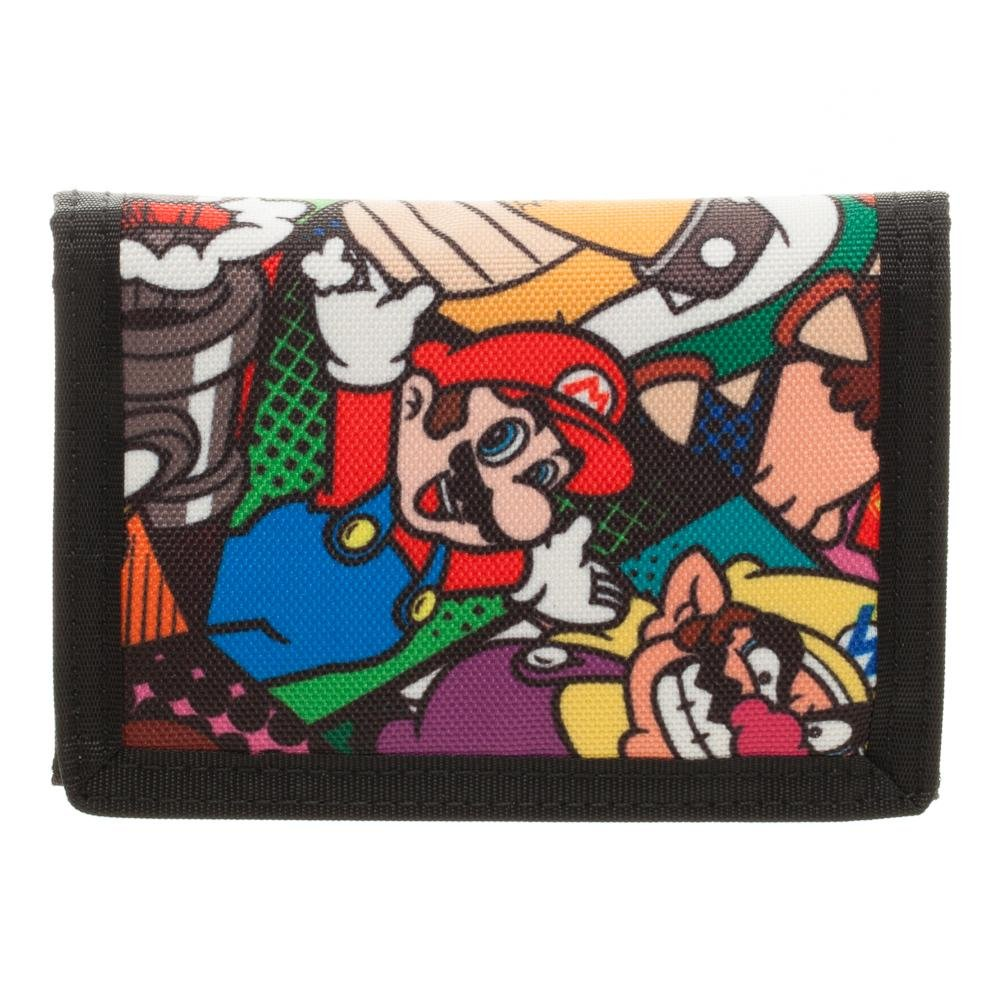 Super Mario Trifold Canvas Wallet by Bioworld Luigi Bowser Wario Mushroom Yoshi Kids