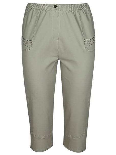 T-MODE Damen Capri Stretch-Jeans Caprihose Schlupfhose 3 4 Länge  Knopfleiste am Saum  Amazon.de  Bekleidung d3144ca518
