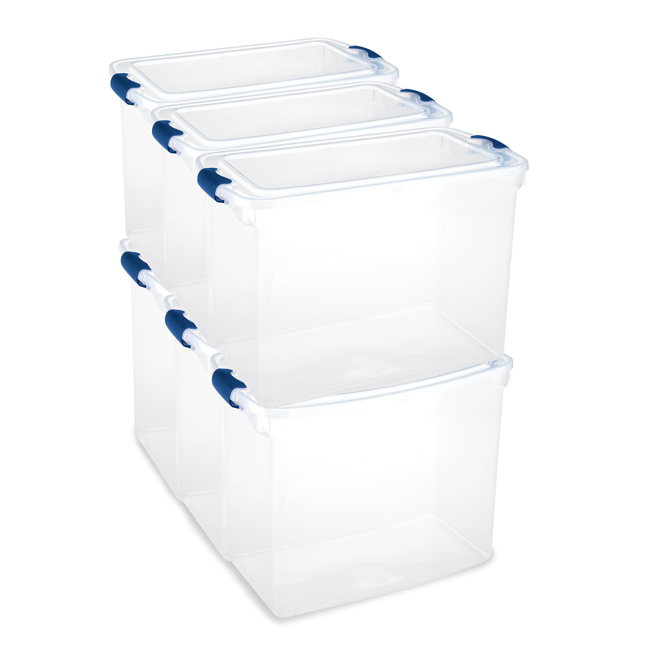 Homz Plastic Storage Tote Box, with Lid, Latching Handles, 112 Quart, Clear, Stackable, 6-Pack by Homz