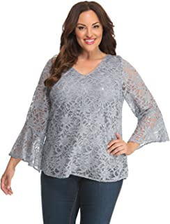 product image for Kiyonna Women's Plus Size Savanna Sequin Lace Top