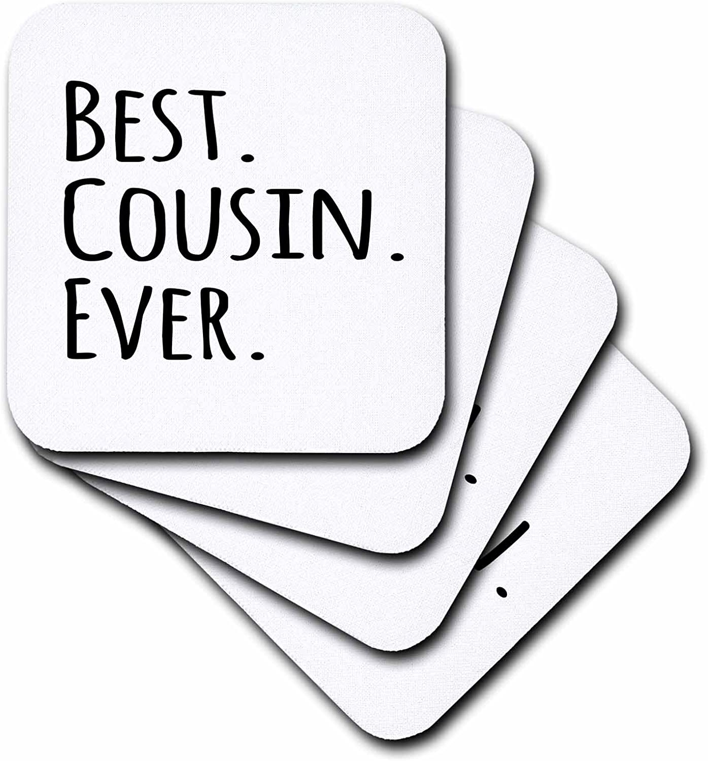 3dRose CST/_151489/_1 Best Papa Ever Gifts for Dads Father Nicknames Good for Fathers Day Black Text Soft Coasters Set of 4