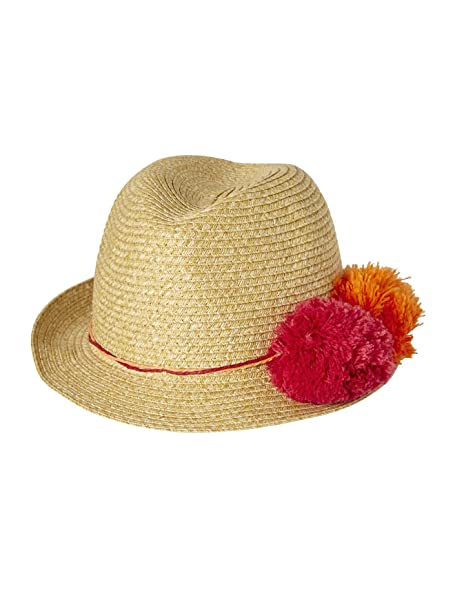 a0d04b568 VERTBAUDET Sombrero niña estilo Panamá con pompones BEIGE CLARO LISO CON  MOTIVOS 53 54  Amazon.es  Ropa y accesorios