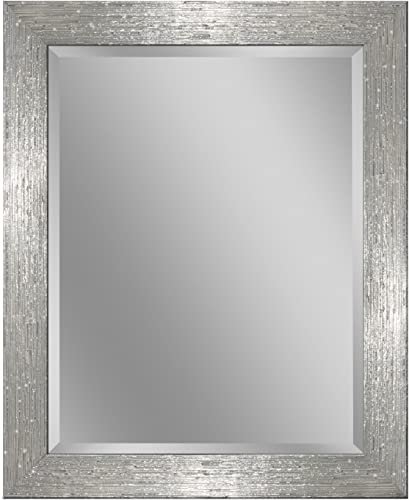 Headwest 8018 Driftwood Wall Mirror in Chrome and White, Chrome White