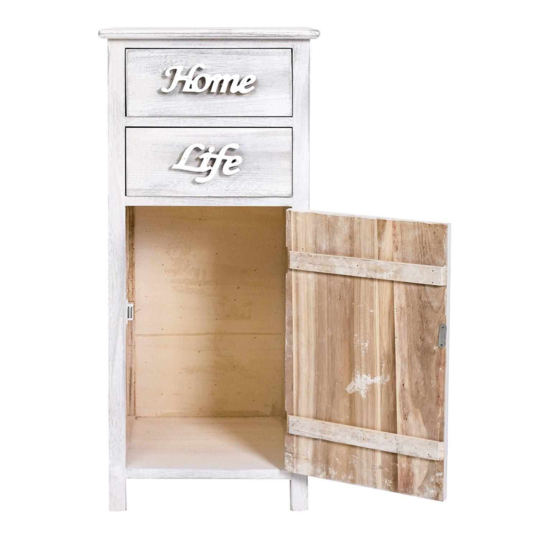 HxLxL - Art Style Shabby Rebecca Mobili petit Armoire Blanc Bois 1 Porte 2 Tiroirs pour decorer Chambre Meuble de Rangement Salle de Bain Dimensions: 84 x 37 x p 31 cm RE4575