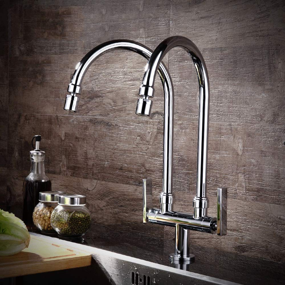 360° redating Mouth U-shaped AXWT Kitchen Sink Taps Lever Basin Taps Kitchen Tap Bathroom Sink Mixer Tap Chrome-Plated Copper Body Double Tube Double Head Single Cold One In Two Out Faucet