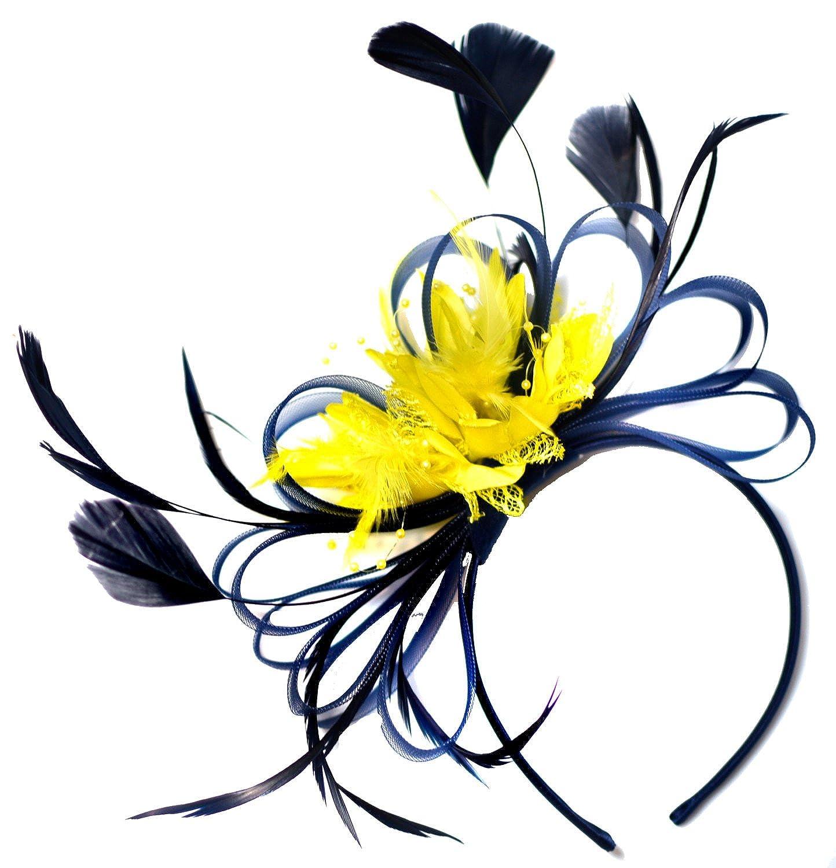 Navy and Yellow Fascinator Hair Headband Wedding Derby Races