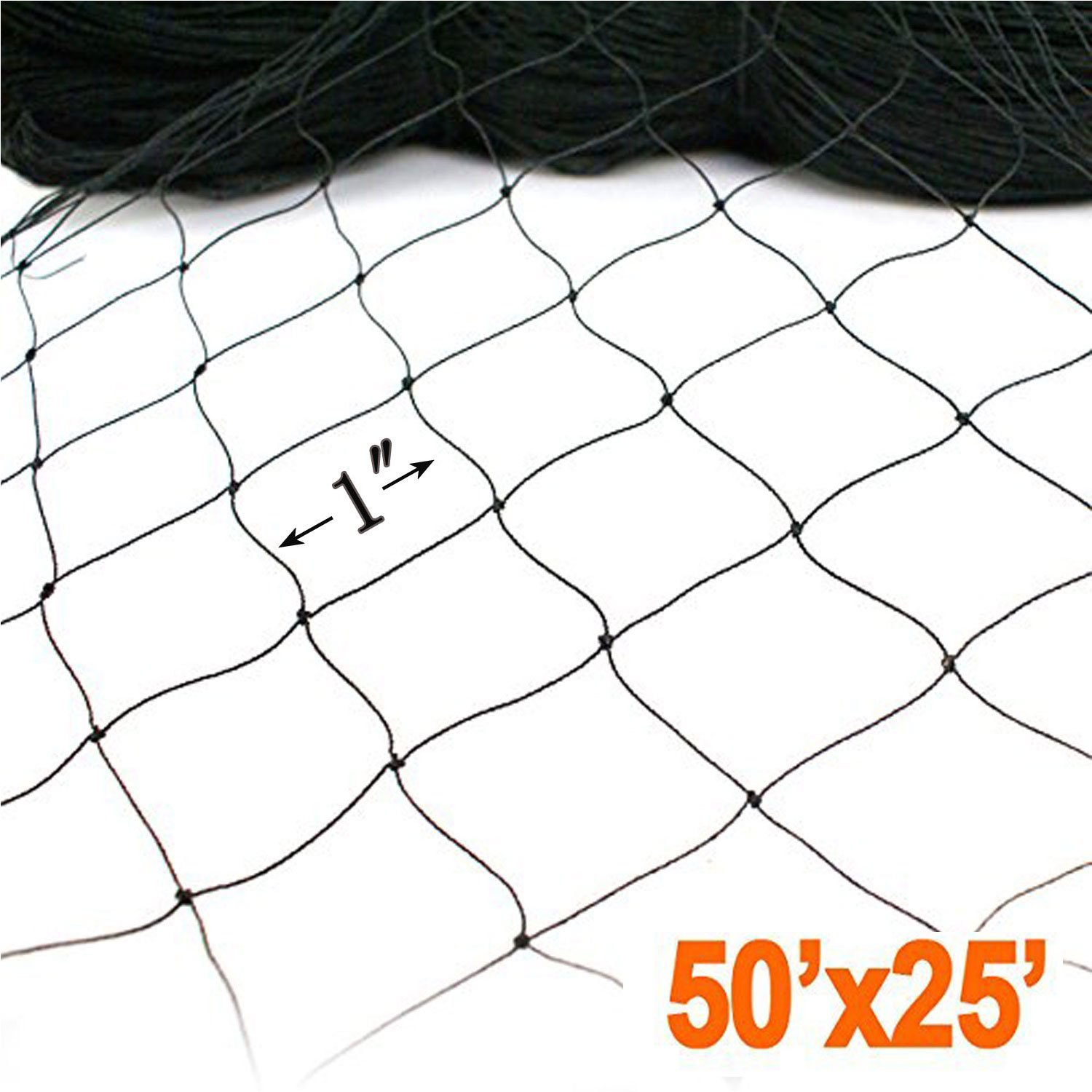 25' X 50' Net Netting for Bird Poultry Aviary Game Pens New 1'' Square Mesh Size, Garden Netting Protects Fruit Trees & Vegetables from Hungry Birds & Chickens (25'50' with 1'1' mesh) by Fickey (Image #2)