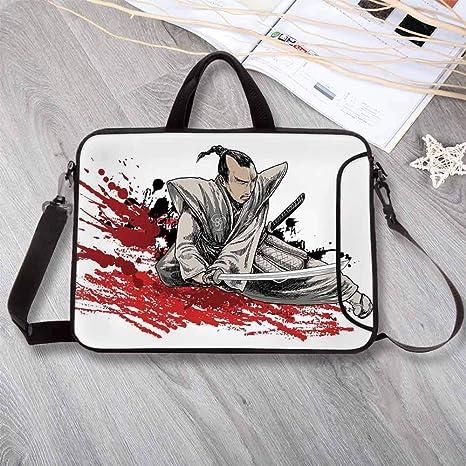 Amazon.com: Japanese Neoprene Laptop Bag,Warrior Holding a ...