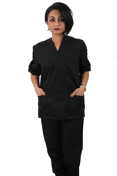 Aibrou Divisa Ospedaliera Uniformi sanitarie Donne Camice Casacca Scollo a V e Pantalone per Medico Infermiere OSS Estetista