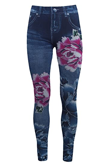 Bongual Thermo Leggings Jeansoptik Winter Frottee Leggings Blickdicht Blumen Print