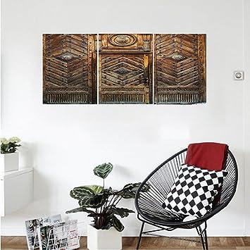 Amazon.com: Liguo88 Custom canvas Rustic Decor Collection Old Door ...