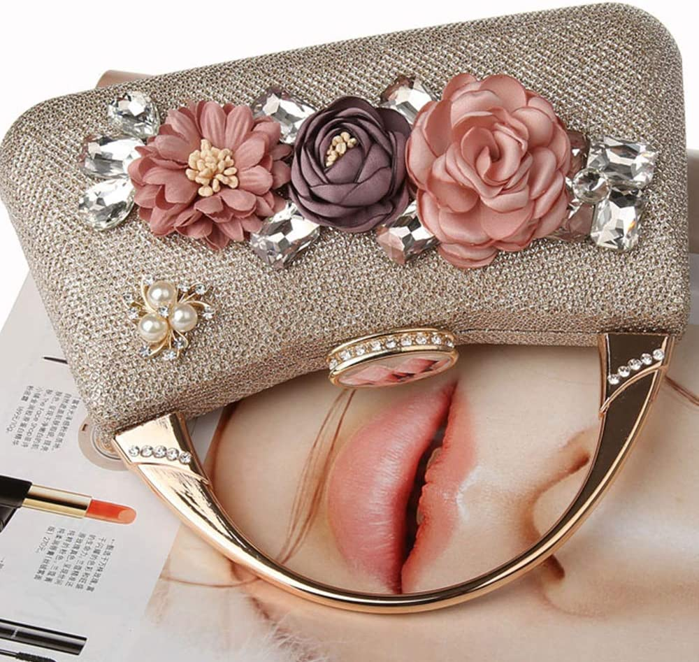 Wedding Clutch Purse Rhinestone Pearl Beaded Bags for Prom Christmas Party Bride-Shiny Champagne WATACHE Glitter Bling Women 3D Flower Elegant Satin Clutches Evening Bags Handbags