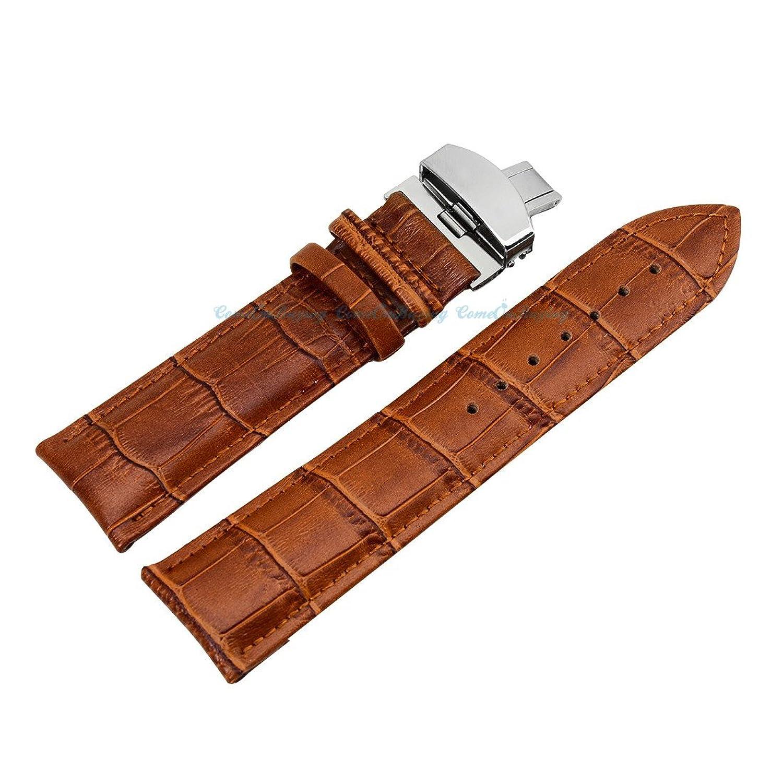 ブラウン品質本革クロコダイルステンレススチール留め金バックル腕時計ストラップバンド24 mm  B01IIBXDN8