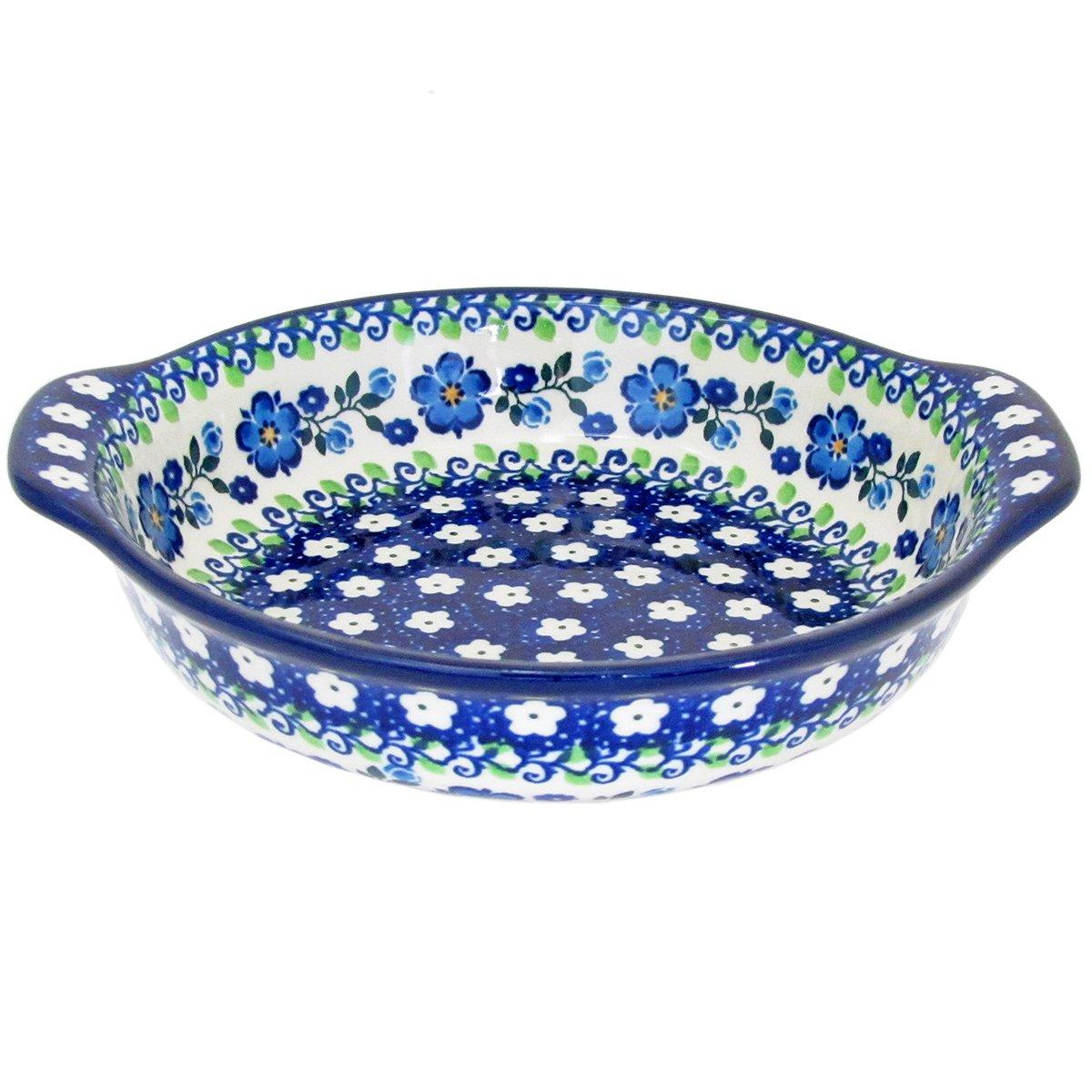 Polish Pottery 6.5'' Handmade Round Au Gratin For One 142- Spring Melody