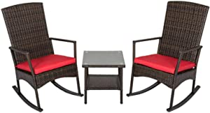 Kinbor 3PCS Outdoor Rattan Rocker Chair Side Tea Table Set, Garden Rocking Wicker Lounge w/Red Cushion