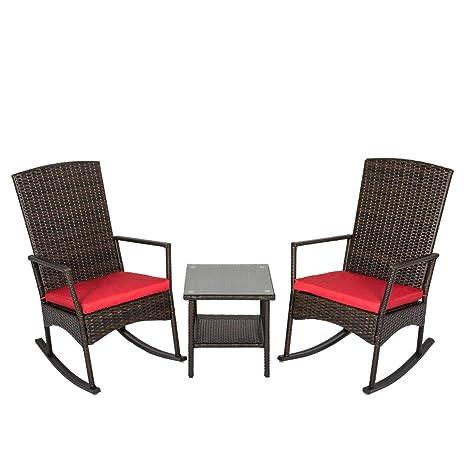 Kinbor - 3 sillones de Mimbre para Exteriores: Amazon.es: Jardín