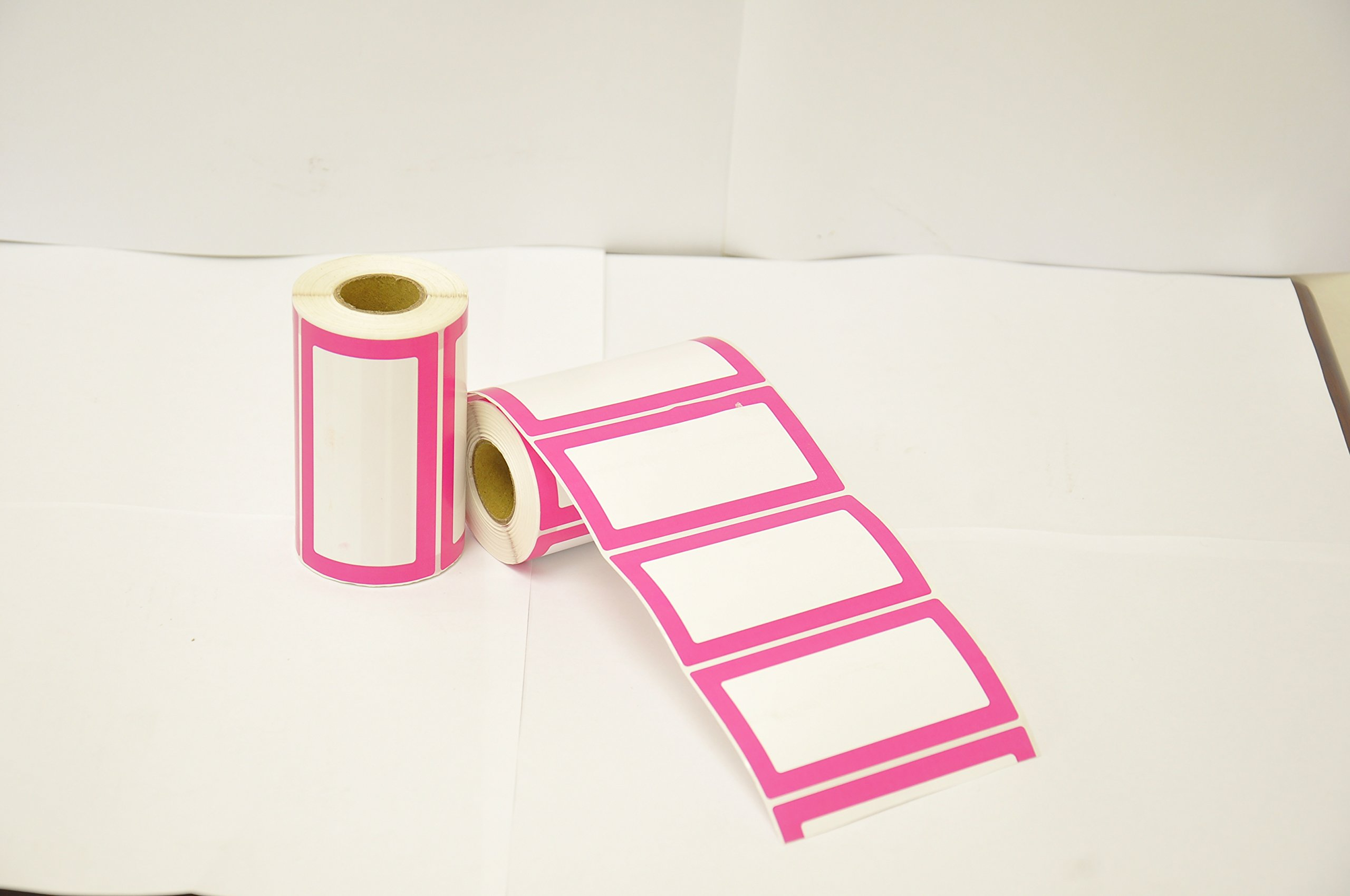 Colorful Plain Name Tag Labels - 2 Rolls 500 Stickers in Total - 3.5 x 2 inches - Nametags for Jars, Bottles, Food Containers, Folders, Birthday Parties and Kids Clothes (Pink/Pink 2 Pack) by Navy Penguin (Image #5)