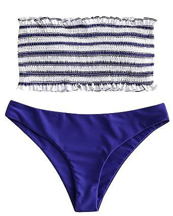 cc058511ae985 ZAFUL Women s Striped Smocked Bandeau Top Two Piece Bikini Set Strapless  Shirred Swimsuits Swimwear (Blue