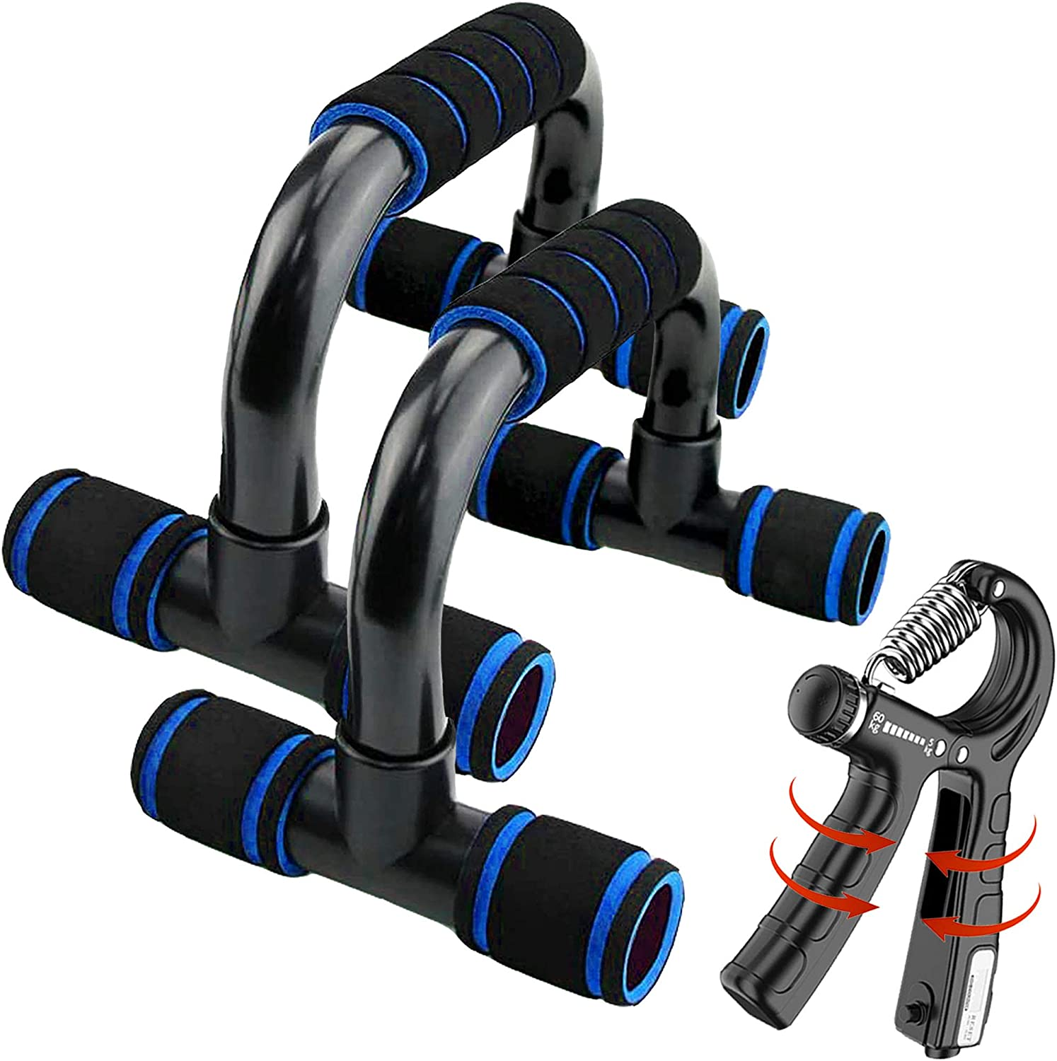 2-in-1 Premium Push Up Bars & Adjustable Hand Grip Strengthener (11-132 LB), Portable Push Ups for Floor with Cushioned Foam Grip & Non-Slip Sturdy Structure for Men/Women for Home Workout