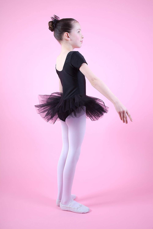 tanzmuster /® Ballettkleid M/ädchen Kurzarm Tutu aus gl/änzendem Lycra Gr/ö/ße 92-170 Alina -