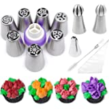 Pridebit Russian Piping Tips Cake Decorating Icing Nozzles 7 XLarge Piping Nozzles 2 Sphere Ball Tips 1 Coupler 1 Cleaning Brush 1 Leaf Tip 10 Pastry Bags DELUXE Baking Supplies Kit