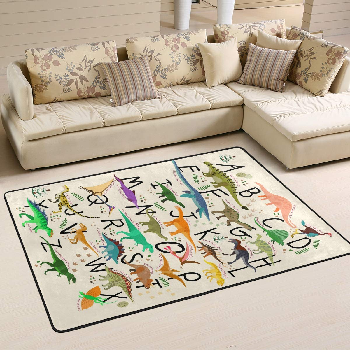 ABC Dinosaurs Area Rugs 5×7 Colorful Modern Area Rug