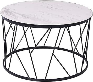 Whiteline Modern Living Zeus Side Table 6mm Glass 3mm White Ceramic Top With Matte Black Powder Coated Iron Base Furniture Decor