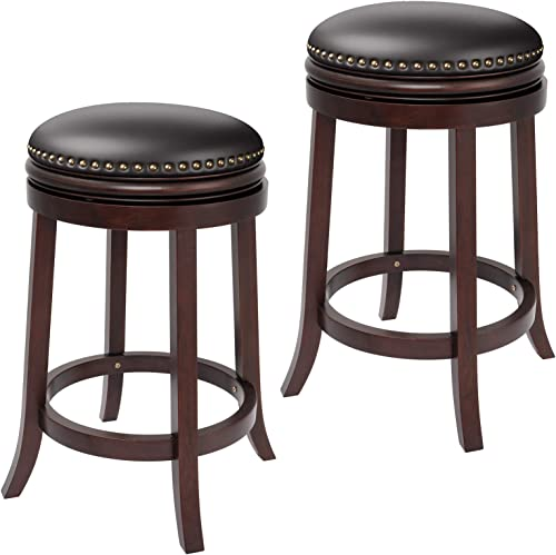 Furgle Barstool Set of 2 Swivel Counter Stool 29-inch Solid Wood Upholstered Backless Bar Stool PU Leather Cushioned Seat w/Brass Nailhead Stud