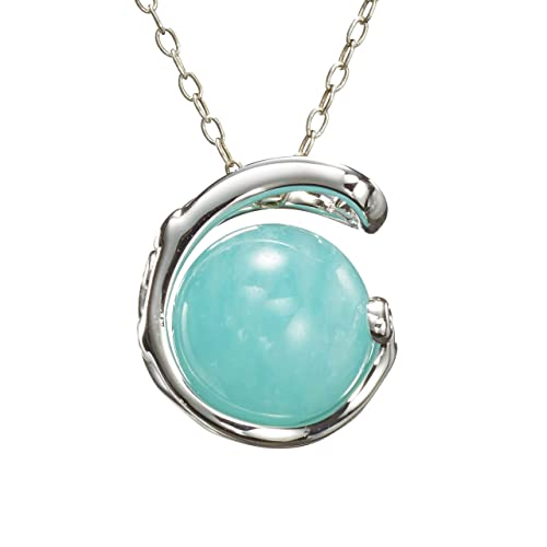 74f5012eb Amazonite necklace, teal green stone pendant, light blue gemstone jewelry.  Handmade 925 sterling silver necklace. Simple minimalist solitaire tiffany  blue ...