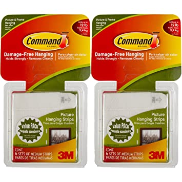 Command 3m 12ct Pack Picture Frame Hanging Strips Sets Medium Size