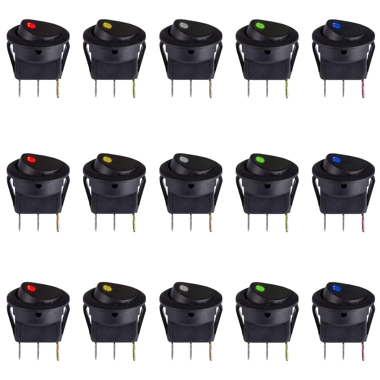 NATEE 15 Pcs Wippschalter Rund Kippschalter KFZ Schalter 12V beleuchtet Boot Truck Trailer Auto Ein-Ausschalter 3 Polig mit LED 5 Farbe