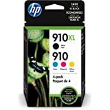 HP 910 / 910XL (3JB41AN) Ink Cartridges (Cyan Magenta Yellow Black) 4-Pack in Retail Packaging