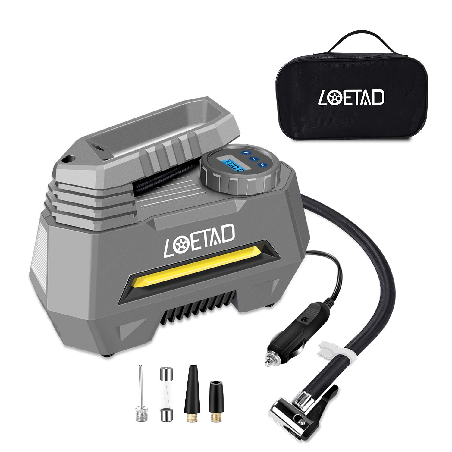 LOETAD Portable Air Compressor Pump Digital Car Tire Inflator 12V DC Tire Pump for Car Bicycle and Other Inflatables