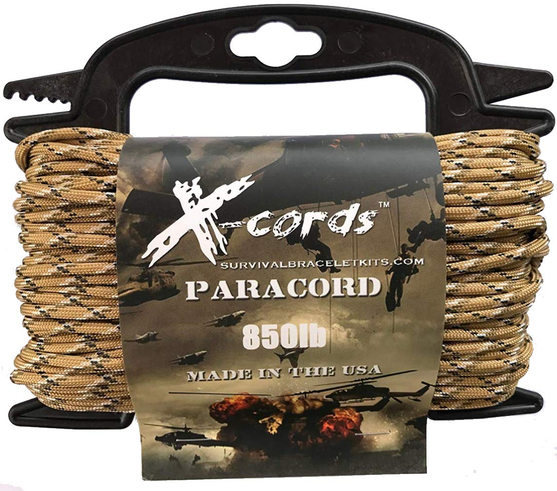 X-CORDS Paracord 850 Lb Stronger Than 550 and 750 Made by Us Government Certified Contractor (100' Desert CAMO ON Spool 850)