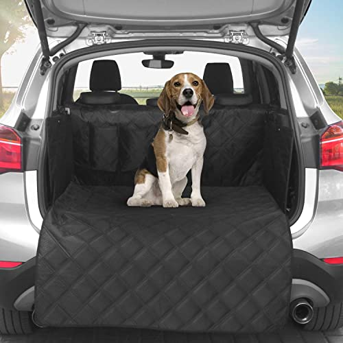 AMOCHIEN Dog SUV Cargo Liner, Pet Cargo Cover Liner for SUV Waterproof Machine Washable with Bumper Flap Protection 60 40 Split for Small SUV