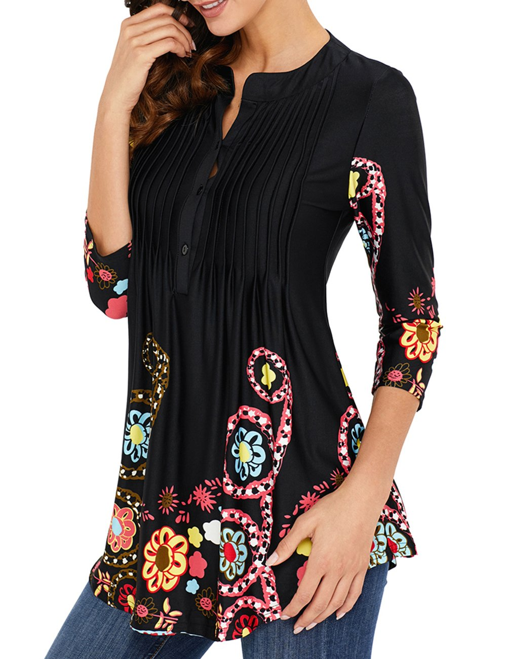 ade87071f0c27 Womens Floral Print Blouse Tops 3 4 Long Sleeves Casual Loose Floral Tunic  Button Up