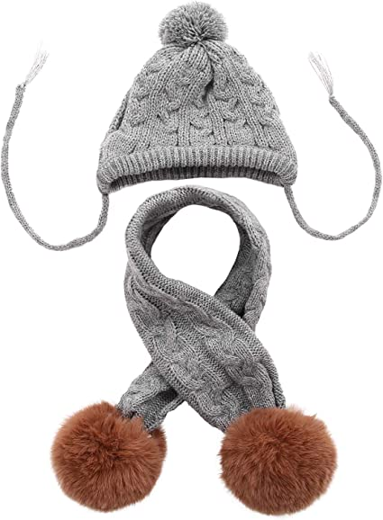 Dog Knitted Hat Pet Christmas Winter Warm Caps Cute Accessories Neck Ear Warmer Hood Warm Scarf Party Decoration for Pet Cat and Dog fit for Small Medium Large Dogs Kuoser Dog Hat /& Scarf Set