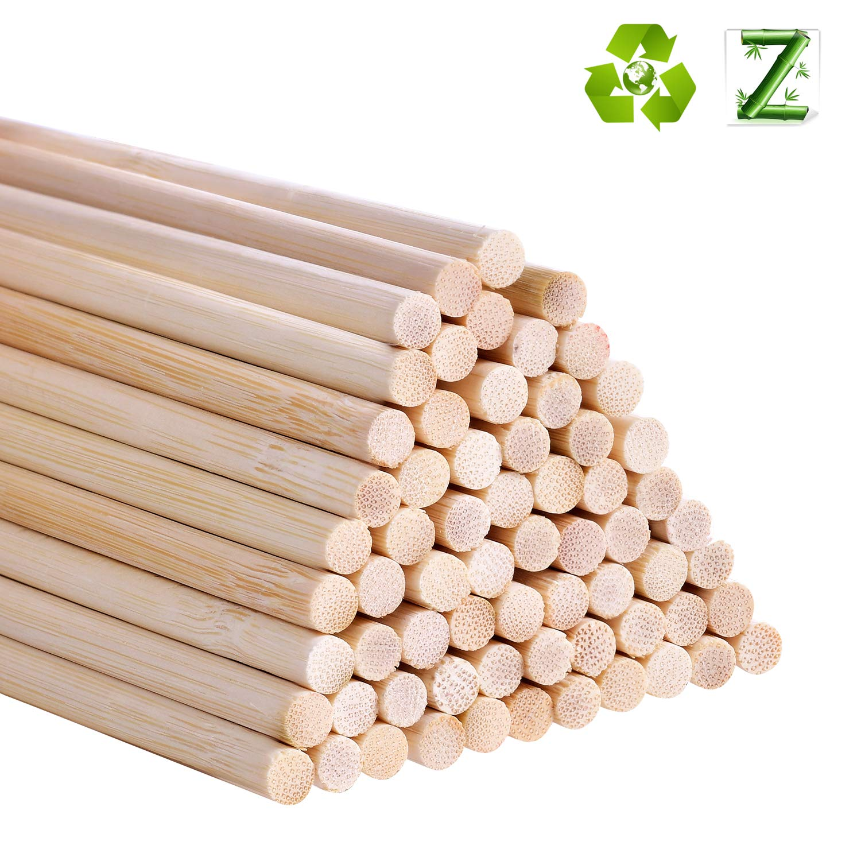 Lot de 55 b/âtons de cheville en bambou 30,5 cm pour projets dartisanat 5mm 0.20inch woods