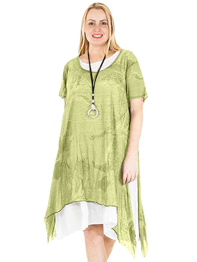 b69b4480caa Love My Fashions® Womens Dress Ladies Italian Lagenlook Linen Splash Print  Casual Short Sleeve Loose Fit Layered Elongated Hemline. Midi Tunic Scooped  Neck ...