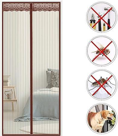 THAIKER Mosquitera Puerta Corredera Magnetica Cortina Puerta Exterior Magnética Automático con Malla Super Fina para para Balcones, Marrón 105x250cm(41x98inch): Amazon.es: Hogar